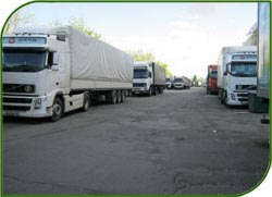 Trucks in the process of transportation of cargoes in Russia
